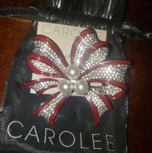 Vintage Carolee Red & White Ribbon Brooch